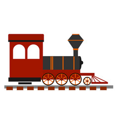 red old locomotive on white background vector image