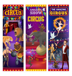 Retro big top circus show animals and tamers vector