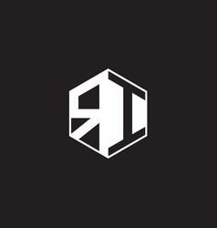 Ri logo monogram hexagon with black background vector