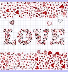 romantic background with hand drawn doodle hearts vector image