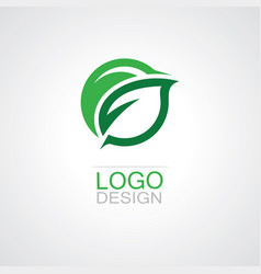 round green leaf logo vector image