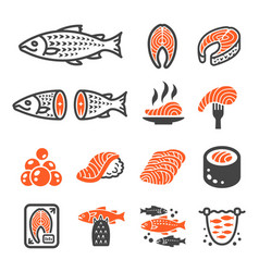 salmon icon vector image