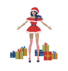 santa claus woman with gift boxes vector image