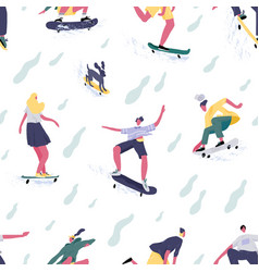 seamless pattern teenage mans and womens vector image