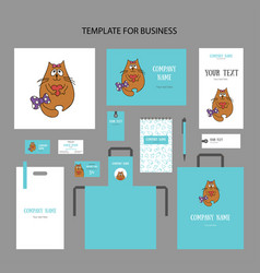 set animalistic elements of corporate identity vector image