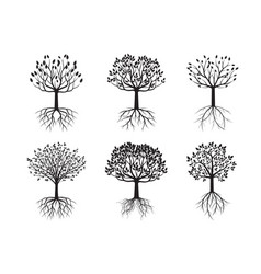Set black trees vector