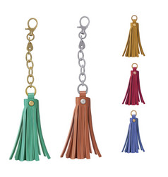 Set leather tassel charm for a womans bag on vector