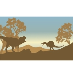 Silhouette of spinosaurus and T-Rex vector