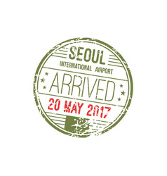 south korea seoul airport visa stamp isolated vector image