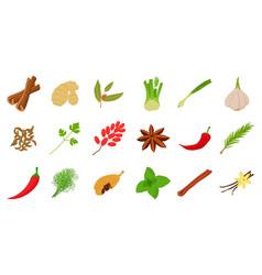 Spices icon set cartoon style vector