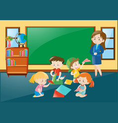 Students folding papercraft in classroom vector