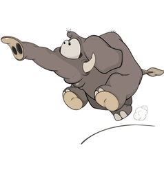 The running elephant calf cartoon vector image