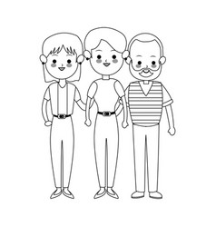 three family members cute cartoon icon image vector image