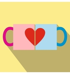 Valentine day couple cups icon vector image