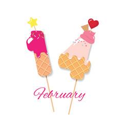 valentines day design february 14 sweet cartoon vector image