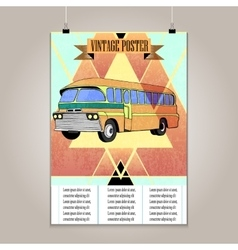 Vintage poster with high detail bus vector image