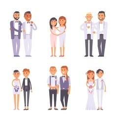 Wedding gay couples set vector