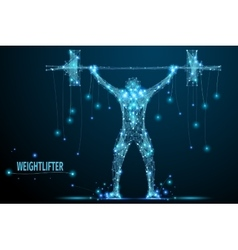 weightlifter poly blue vector image