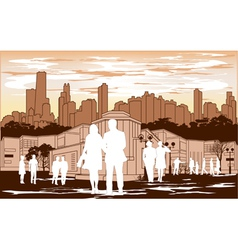 white people silhouette on red city background vector image