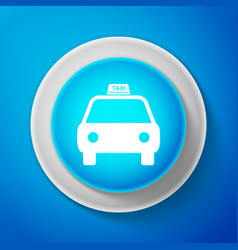 white taxi car icon isolated on blue background vector image