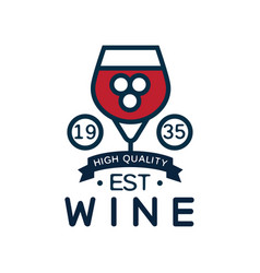 Wine label est 1935 high quality product logo vector