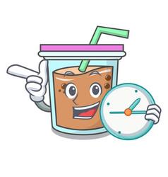 With clock bubble tea character cartoon vector