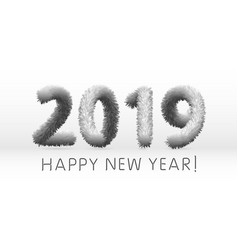 wooly grey hairy shaggy wool 2019 happy new year vector image