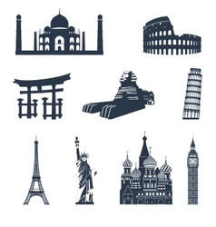 World famous landmarks black vector