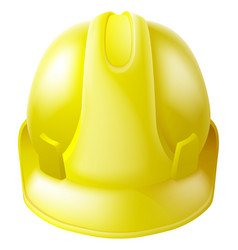 Yellow hard hat safety helmet vector