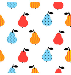 dotted pear seamless blue and red pattern on white vector image
