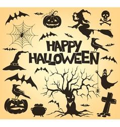 Halloween silhouette set vector image vector image
