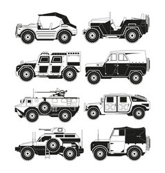 monochrome pictures of military vehicles vector image