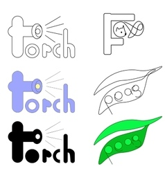 set of logos for words torch fox and peas vector image vector image