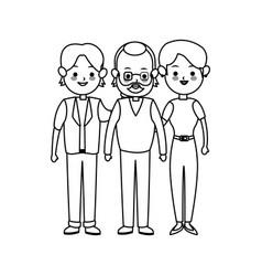 three family members cute cartoon icon image vector image vector image