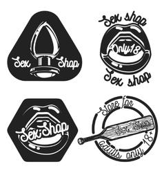 Vintage sex shop emblems vector image vector image