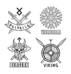 authentic vikings themed logo isolated monochrome vector image