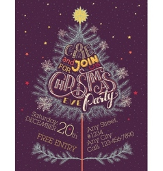 Christmas eve party hand-lettering vector image