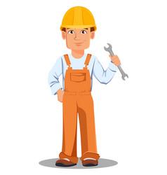 Handsome builder in uniform vector