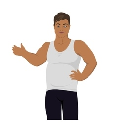 Junk food consumption man before weight loss vector