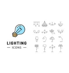 Lamp icon set Lighting store flat design Brand vector image vector image