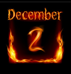 second december in calendar of fire icon on black vector image