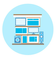 smart home technology icon on blue background vector image vector image
