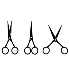 black isolated cutting scissors vector image