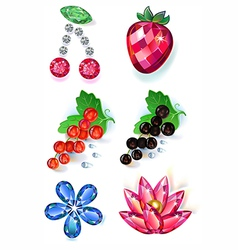 Fruit flowers colored gems brooches set vector image vector image