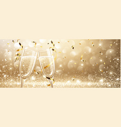 glasses of champagne with confetti vector image
