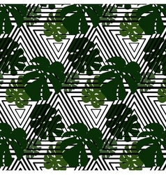 green leaves on striped background vector image vector image