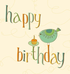 greeting birthday card with cute bird and cake wit vector image vector image