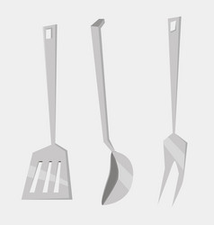 set kitchen utensils cooking tools flat style vector image