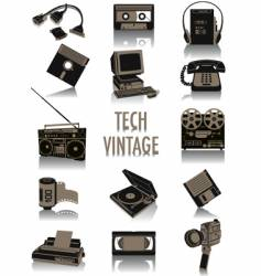 Tech-vintage silhouettes vector