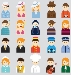 Various People Symbol Icons Hotel and Travel Set vector image vector image